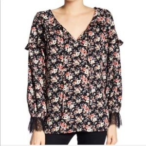 🍃 NWT Pleione Floral Ruffle Poet Blouse Rose